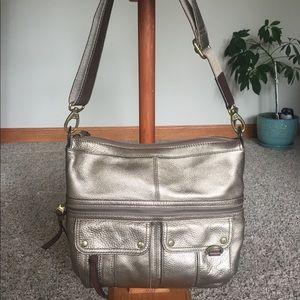 Like New FOSSIL Gold Metallic Crossbody Bag Purse